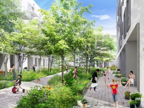 Units in Cité Angus face either a large interior courtyard intended to be a safe place for children to run around and play, or Jean-Duceppe Park, across the street,