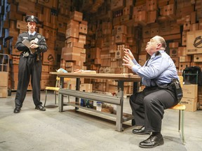 Laurent Pitre, left, plays Dom with Michel Perron as Otto during a media call for The Shoplifters at the Centaur Theatre.