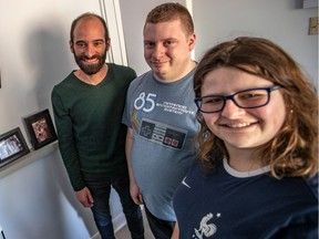 Sam Benamron, who owns physiotherapy and occupational therapy clinics, has hired three young people with disabilities to work in his clinics. From left: Benamron, Paul Fernandes and Ainslie Macdonald.