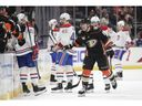 Anaheim Ducks' Daniel Sprong celebrates his goal as he skates past Canadiens players on Friday, March 8, 2019, in Anaheim, Calif.