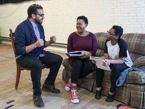 """Centred on a young African-American girl with dreams of ballet glory, Reaching for Starlight """"has these themes about wanting to be somebody greater than you are in spite of the circumstances you're given,"""" says director Mike Payette, with actors Warona Setshwaelo, centre, and Bria McLaughlin."""