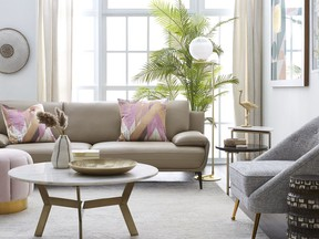 Pastel colours pair well with cool or warm neutrals and add a soft and spring-like look to a room. Pale blue walls, and grey and beige furnishings get a shot of pretty with pink and gold accents. Pillows $17 and pink velvet pouf, $199, HomeSense.