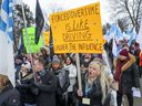 Members of the Federation interprofessionelle de la santé du Québec demonstrated outside the Lakeshore General Hospital in Pointe-Claire in December, urging the government to limit overtime.