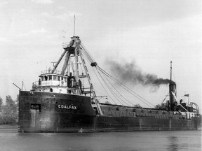 This photo provided by Ron Walsh shows the Coalfax, a self-unloading ship that used to purvey the former canal system on the St. Lawrence River prior to the opening of the Seaway.
