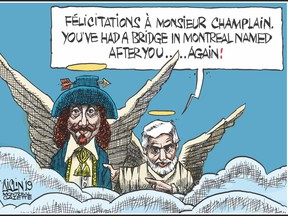 """The Gazette's Terry Mosher, a.k.a. Aislin, thrashed out ideas for a Champlain Bridge time capsule contribution with his old pal Serge Chapleau of La Presse: """"I said, 'I'm thinking I'll be dead, and you'll be dead when they open this thing. Why don't I do something on Champlain?' And he said, 'I'll do something commenting on the bridge'."""""""