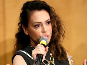 Actress Alyssa Milano speaks during a SAG-AFTRA Panel Discussion on Deepfakes in Los Angeles on May 6, 2019.