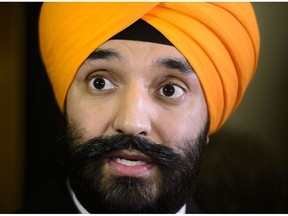 Navdeep Bains, Minister of Innovation, Science and Economic Development, speaks to media following a cabinet meeting on Parliament Hill in Ottawa on Tuesday, Jan. 29, 2019. Bains says the federal government will look to update the Privacy Act as part of an effort to build greater trust in the digital world.