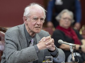 Charles Taylor, right, co-author of the Bouchard-Taylor report, speaks at a legislature committee studying a bill on secularism, Tuesday, May 7, 2019 at the legislature in Quebec City.