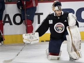 Florida Panthers goaltender Roberto Luongo, pictured during a team practice in his native Montreal last January, has announced his retirement from the NHL at age 40 after 19 seasons.