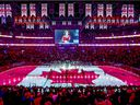 The Canadian flag is projected onto the ice at the Bell Centre during singing of the national anthem before NHL game between the Canadiens and Florida Panthers in Montreal on Jan. 15, 2019.
