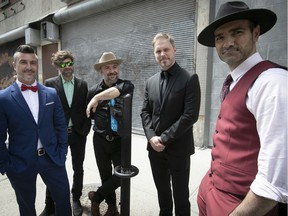 """""""This is party music,"""" Éloi Painchaud, centre, says of Salebarbes' infectious Acadian songs. """"It's not having fun in a dumb way — it's celebrating that we're alive and we're all pushing in the same direction."""" The supergroup also features Jonathan Painchaud, left, Kevin McIntyre, Jean-François Breau and George Belliveau."""