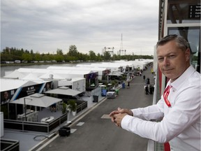 Canadian Grand Prix promoter François Dumontier looks out over the new paddock area at the Circuit Gilles-Villeneuve in Montreal on Wednesday, June 5, 2019.