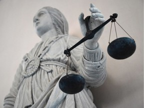 The goddess of Justice balancing the scales.