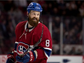 Canadiens defenceman Jordie Benn gets ready for faceoff during a break in NHL pre-season action against the Florida Panthers at the Bell Centre in Montreal on Sept. 19, 2018.