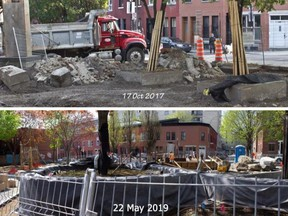 Photos provided by David Robertson show construction at Devonshire Park in the Plateau in 2017 and 2019.