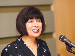 Federal Minister of Health Ginette Petitpas Taylor makes a point during a press conference at Health Sciences North on Thursday. John Lappa/Sudbury Star