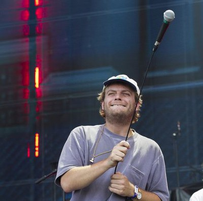 MONTREAL, QUE.: AUGUST 4, 2019 --Mac DeMarco swings the microphone during his performance on Day 3 of the Osheaga Music and Arts Festival at Parc Jean-Drapeau in Montreal Sunday, August 4, 2019. (John Kenney / MONTREAL GAZETTE)