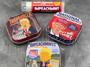 Boutique Surprise is a small gift and card shop, but what's flying off the shelves there these day are not mushy cards and cutesy gifts, but rather an array of anti-Trump mementoes: Trump mints (Impeachmints), lip balms, posties, soaps, salt and pepper shakers, stripping magnet dolls.