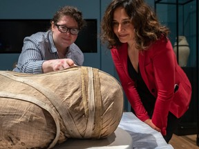 Caroline Barton, collection manager at the British Museum, left, chats with Laura Vigo, curator of Asian art and archaeology at the MMFA, in Montreal on Wednesday August 28, 2019.