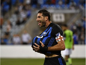 Jul 24, 2019; Montreal, Quebec, Canada; Montreal Impact midfielder Ignacio Piatti (10) reacts after scoring a goal against York9 FC on a penalty kick during the second half at Saputo Stadium. Mandatory Credit: Eric Bolte-USA TODAY Sports ORG XMIT: USATSI-404936