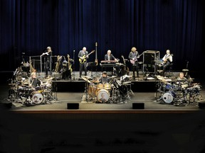 """""""We have a lot of players, and we have a lot of tonal things we can do that I'm sure no other incarnations of Crimson had,"""" bassist Tony Levin says of the modern-day King Crimson. Back row, from left: Mel Collins, Levin, Bill Rieflin (currently not touring), Jakko Jakszyk, Robert Fripp. Front row: Pat Mastelotto, Jeremy Stacey, Gavin Harrison."""
