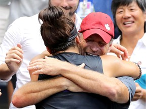 Bianca Andreescu celebrates with coach Sylvain Bruneau after winning the U.S. Open singles final against Serena Williams on Sept. 7, 2019, in New York City.