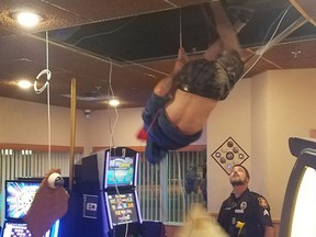 A man fell through a casino ceiling while trying to escape police.