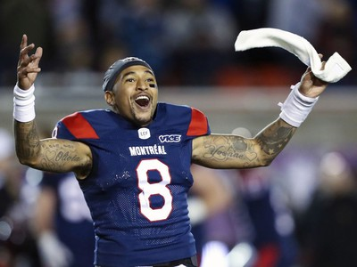 Alouettes quarterback Vernon Adams Jr. celebrates his team's victory over the Calgary Stampeders in Montreal on Saturday, Oct. 5, 2019.