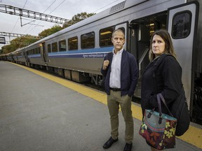 Francis Millaire and Karolyne Viau at the Deux-Montagnes train station. They are among thousands to be affected when the Mount Royal Tunnel shuts for REM-related work.