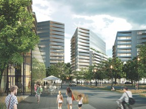 The North American Development Group has plans for a massive new residential development in the heart of Dorval's commercial sector.