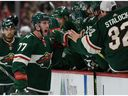 The Minnesota Wild's Brad Hunt celebrates after scoring a power-play goal in the third period of NHL game against the Montreal Canadiens at the Xcel Energy Center on Oct. 20, 2019.