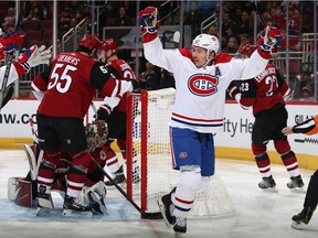 Brendan Gallagher scored his sixth goal of the season in his 500th career NHL game as the Canadiens beat the Coyotes 4-1 Wednesday night at Gila River Arena in Glendale, Ariz.