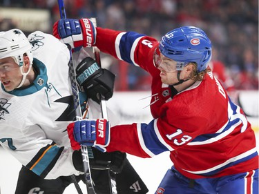 Montreal Canadiens Max Domi gets his stick up on San Jose Sharks Dylan Gambrell during third period of National Hockey League game in Montreal Thursday October 24, 2019.