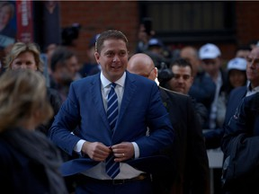 Conservative leader Andrew Scheer arrives to the French televised debate at TVA in Montreal, Quebec, Canada October 2, 2019.  REUTERS/Andrej Ivanov