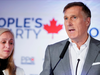 People's Party of Canada Leader Maxime Bernier speaks after the announcement of federal election results in Beauceville, Quebec, on Oct. 21, 2019.