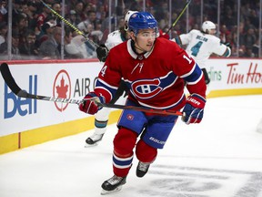 Canadiens' Nick Suzuki follows the play during the third period against the San Jose Sharks in Montreal on Oct. 24, 2019.