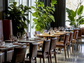 Beau Mont's dining room is sleek and cool, with polished concrete floors and floor-to-ceiling windows.