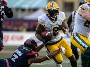 Edmonton Eskimos running back C.J. Gable (2) eludes the grasp of Montreal Alouettes defensive end John Bowman (7) during 2nd half Eastern Semi-Final CFL action at Molson Stadium in Montreal on Sunday November 10, 2019.