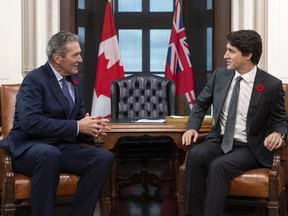 Prime Minister Justin Trudeau meets with Manitoba Premier Brian Pallister in his office on Parliament Hill in Ottawa, on Friday, Nov. 8, 2019.