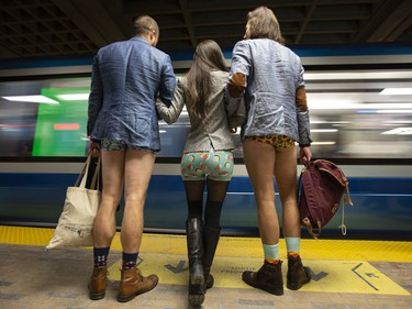 MONTREAL, QUE: January 12, 2020 --  Participants of the annual No Pants subway ride waits on the platform as a subway car arrives at their stop in Montreal, January 12, 2020.  (Christinne Muschi / MONTREAL GAZETTE)      ORG XMIT: 63752