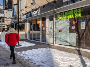 The vacant American Apparel store on St-Denis St. south of Duluth St. in Montreal is seen on Thursday, Jan. 9, 2020.