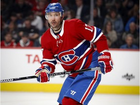 Canadiens winger Ilya Kovalchuk keeps his eyes on the puck during NHL game against the Winnipeg Jets at the Bell Centre in Montreal on Jan. 6, 2020
