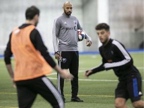 Impact head coach Thierry Henry during opening day of training camp in Montreal on Jan. 14, 2020.