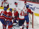 The Washington Capitals' Tom Wilson celebrates after scoring on Canadiens goalie Carey Price during first period of NHL game at the Bell Centre in Montreal on Jan. 27, 2020.