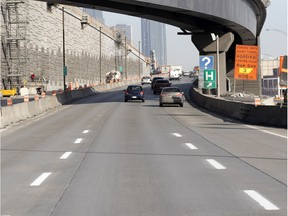 New lane markers have been painted on a small section of the Turcot Interchange to replace what has faded off most of the road surface near the Atwater exit on the eastbound 720 in Montreal.
