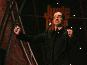 Guy Nantel is seen doing his stand-up routine in 2004. Today, he seems convinced he's just what the PQ needs, Don Macpherson writes.