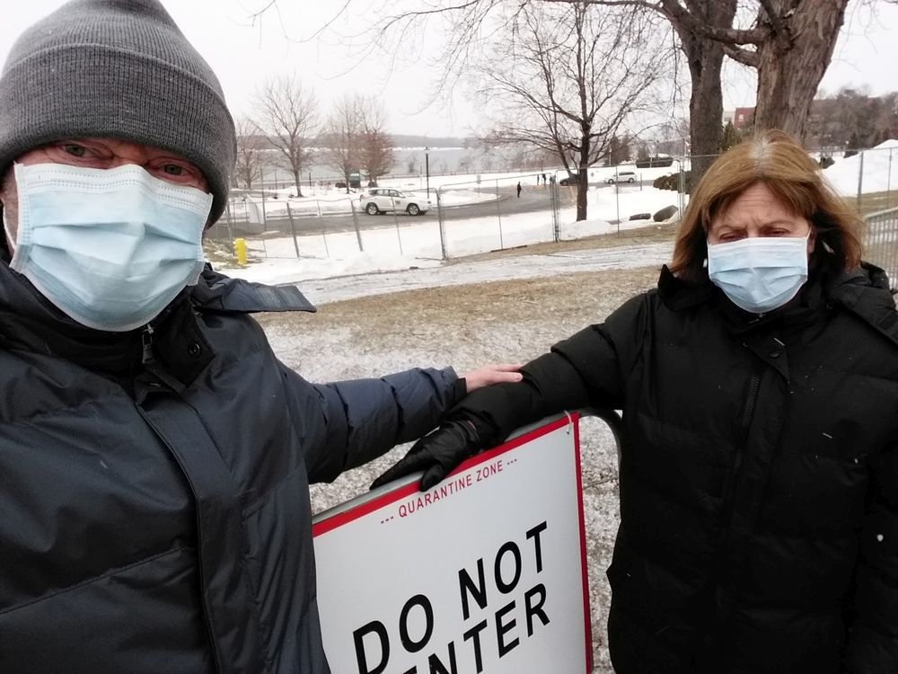 Bryan Doyle and Lucie Mauro try to get outside five or six times a day, wearing the masks and gloves required when they leave their third-floor room, and maintain the required distance of six feet from everyone. Photo courtesy of Bryan Doyle.