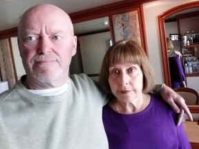 Bryan Doyle and his wife, Lucie Mauro, are aboard the Diamond Princess in Japan Feb. 12, 2020. The Diamond Princess is quarantined as the number of coronavirus infections has soared to more than 170 on the cruise ship.