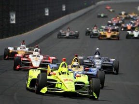 Simon Pagenaud of France, driver of the Menards Team Penske Chevrolet leads a pack of cars during the 103rd running of the Indianapolis 500 at Indianapolis Motor Speedway on May 26, 2019 in Indianapolis, Indiana.
