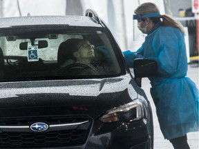 A nasal swab sample taken at COVID-19 drive-through screening clinic in Côte-St-Luc on March 29, 2020.